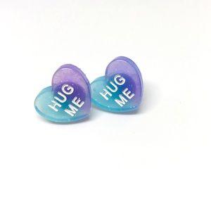 Hug Me Ombré Glitter Conversation Heart Earrings